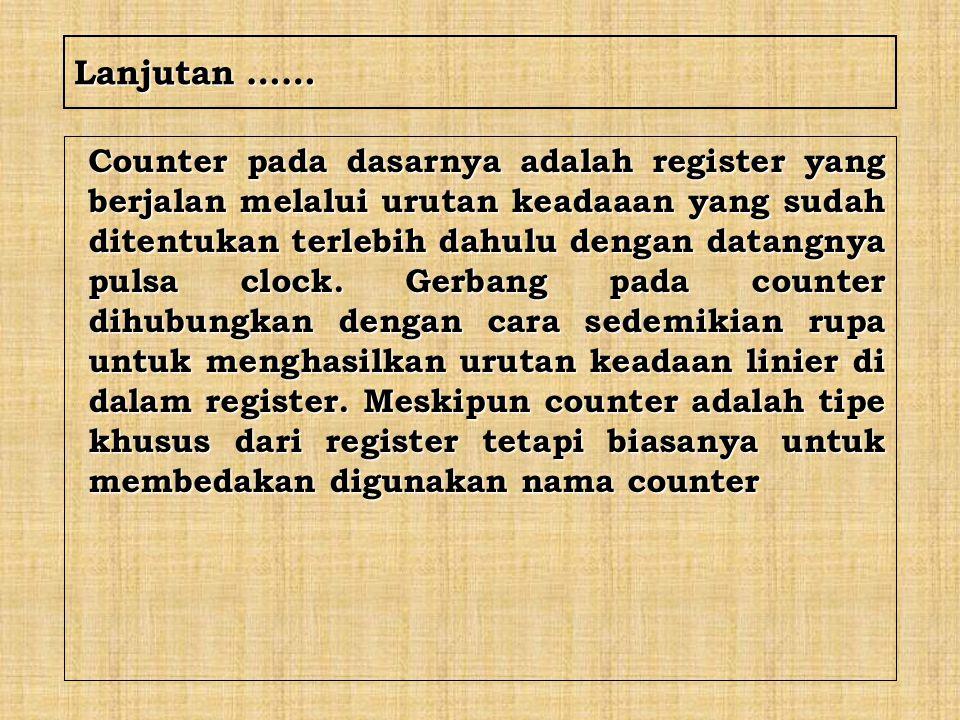 Lanjutan …… Counter pada dasarnya adalah register yang berjalan melalui urutan keadaaan yang sudah ditentukan terlebih dahulu dengan datangnya pulsa c