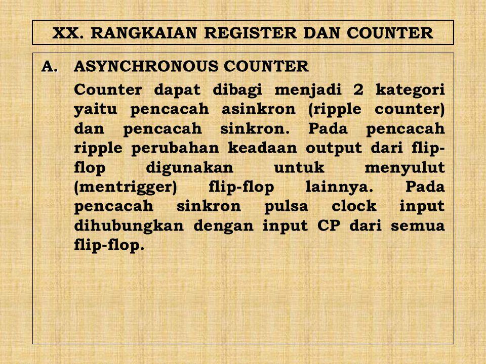 XX. RANGKAIAN REGISTER DAN COUNTER A. A.ASYNCHRONOUS COUNTER Counter dapat dibagi menjadi 2 kategori yaitu pencacah asinkron (ripple counter) dan penc