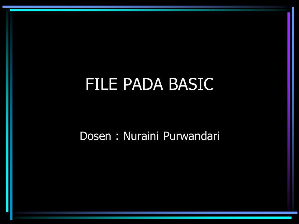 FILE PADA BASIC Dosen : Nuraini Purwandari