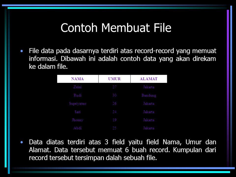 Contoh Membuat File File data pada dasarnya terdiri atas record-record yang memuat informasi. Dibawah ini adalah contoh data yang akan direkam ke dala