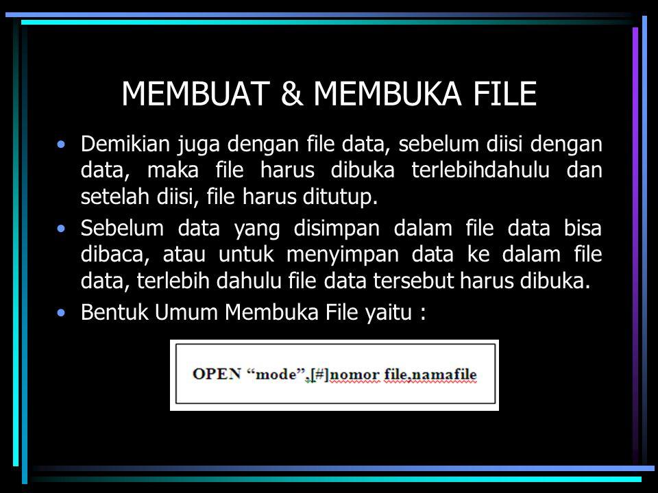 MEMBUAT & MEMBUKA FILE Demikian juga dengan file data, sebelum diisi dengan data, maka file harus dibuka terlebihdahulu dan setelah diisi, file harus