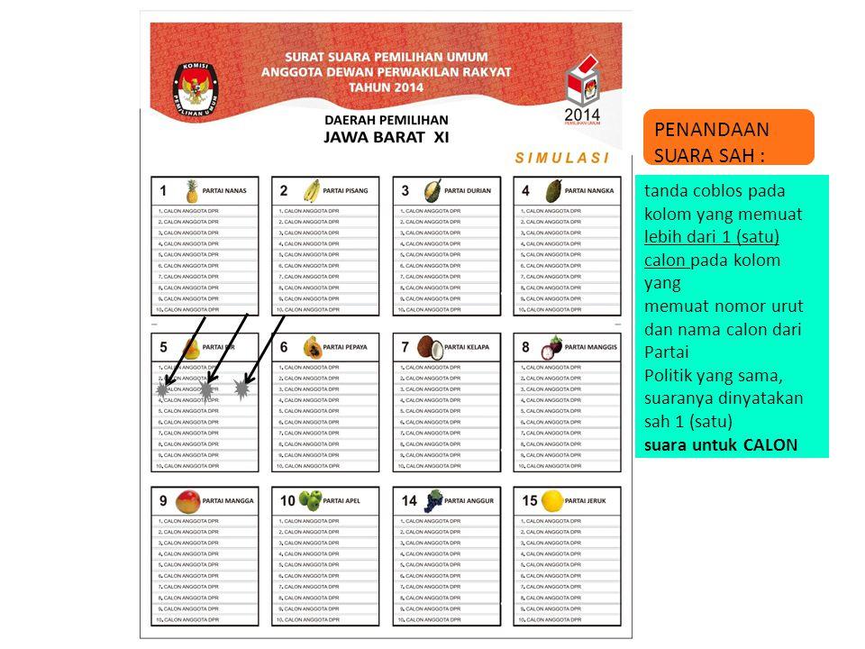 PENANDAAN SUARA SAH : tanda coblos pada kolom yang memuat lebih dari 1 (satu) calon pada kolom yang memuat nomor urut dan nama calon dari Partai Polit