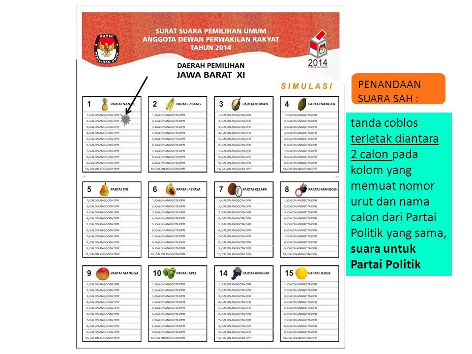 tanda coblos terletak diantara 2 calon pada kolom yang memuat nomor urut dan nama calon dari Partai Politik yang sama, suara untuk Partai Politik PENA
