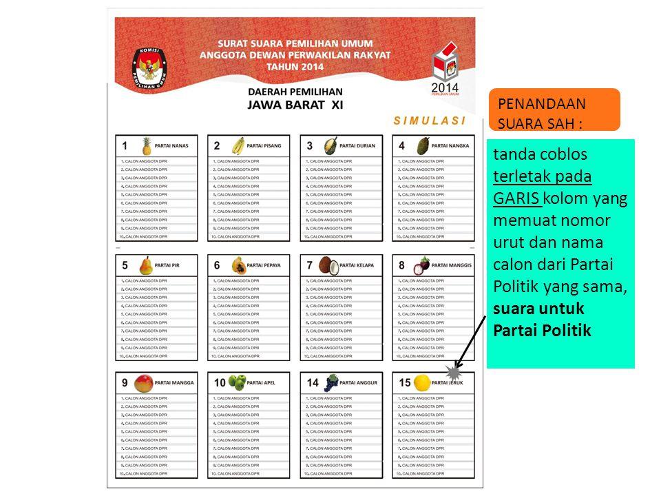 tanda coblos terletak pada GARIS kolom yang memuat nomor urut dan nama calon dari Partai Politik yang sama, suara untuk Partai Politik PENANDAAN SUARA
