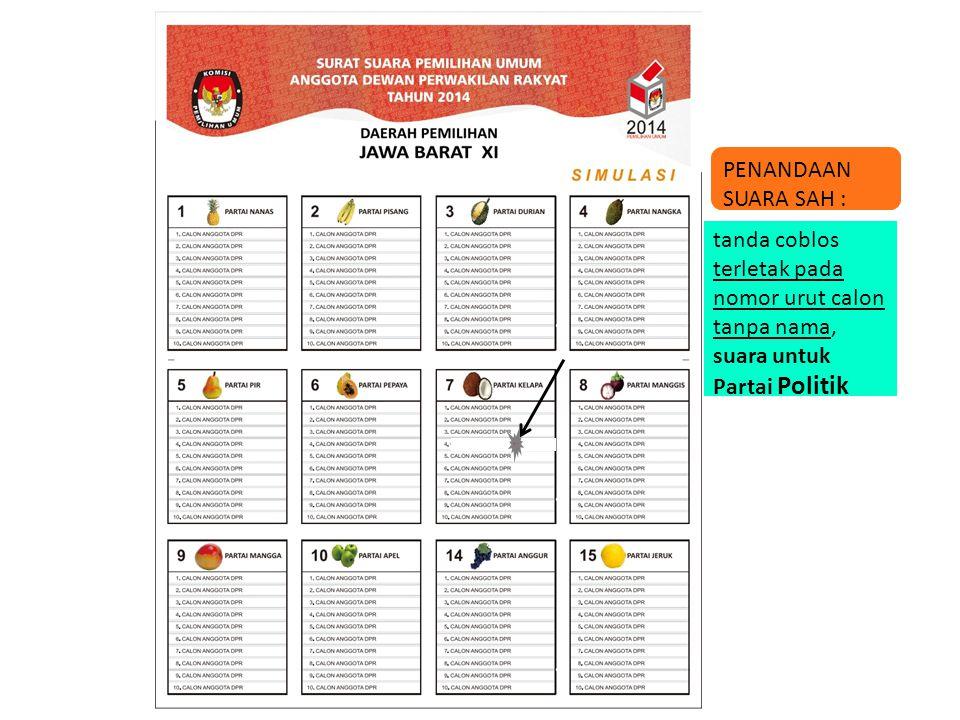 tanda coblos terletak pada nomor urut calon tanpa nama, suara untuk Partai Politik PENANDAAN SUARA SAH :