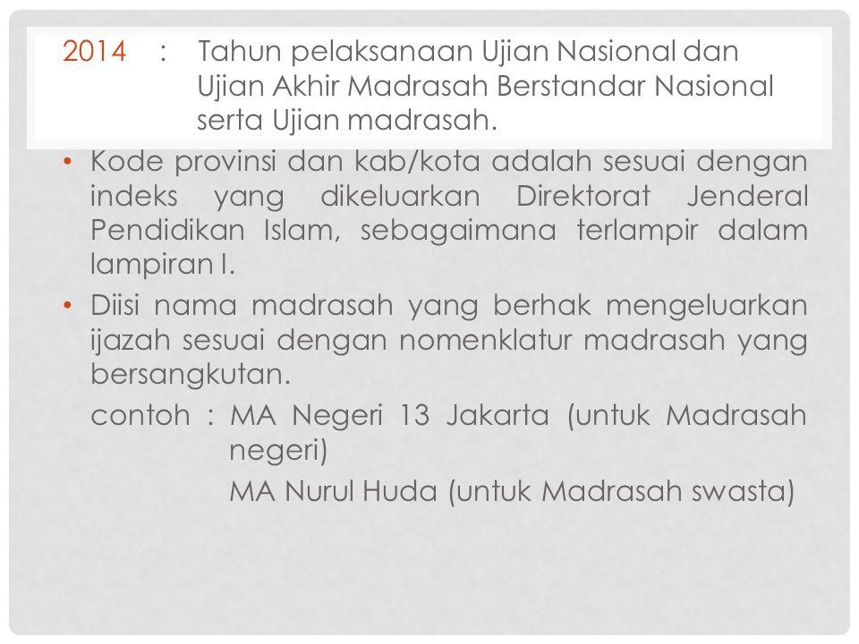 2014: Tahun pelaksanaan Ujian Nasional dan Ujian Akhir Madrasah Berstandar Nasional serta Ujian madrasah. Kode provinsi dan kab/kota adalah sesuai den