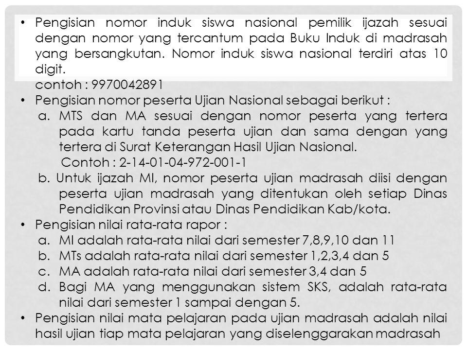 Pengisian nomor induk siswa nasional pemilik ijazah sesuai dengan nomor yang tercantum pada Buku Induk di madrasah yang bersangkutan.