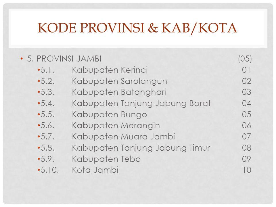 KODE PROVINSI & KAB/KOTA 5.