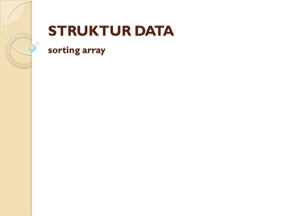 Sorting Sorting = pengurutan Sorted = terurut menurut kaidah/aturan tertentu Data pada umumnya disajikan dalam bentuk sorted.