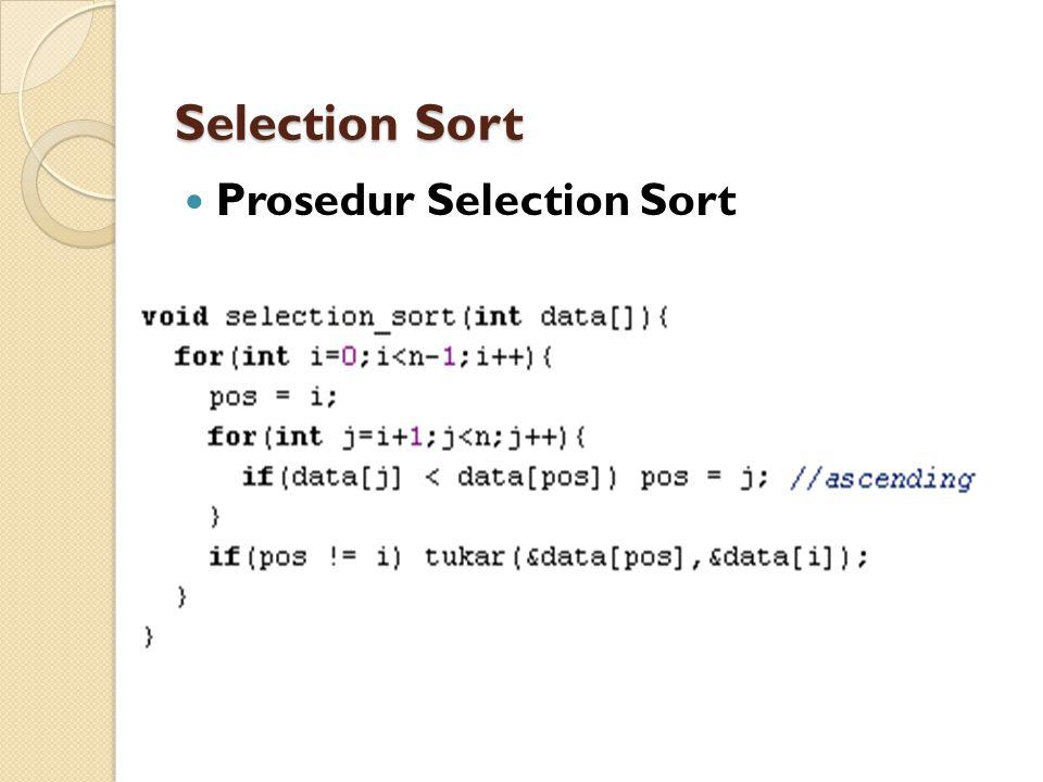 Prosedur Selection Sort