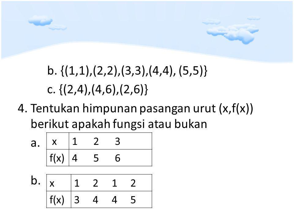 b.{(1,1),(2,2),(3,3),(4,4), (5,5)} c. {(2,4),(4,6),(2,6)} 4.