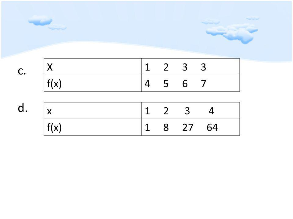 c. d. X1 2 3 3 f(x)4 5 6 7 x1 2 3 4 f(x)1 8 27 64