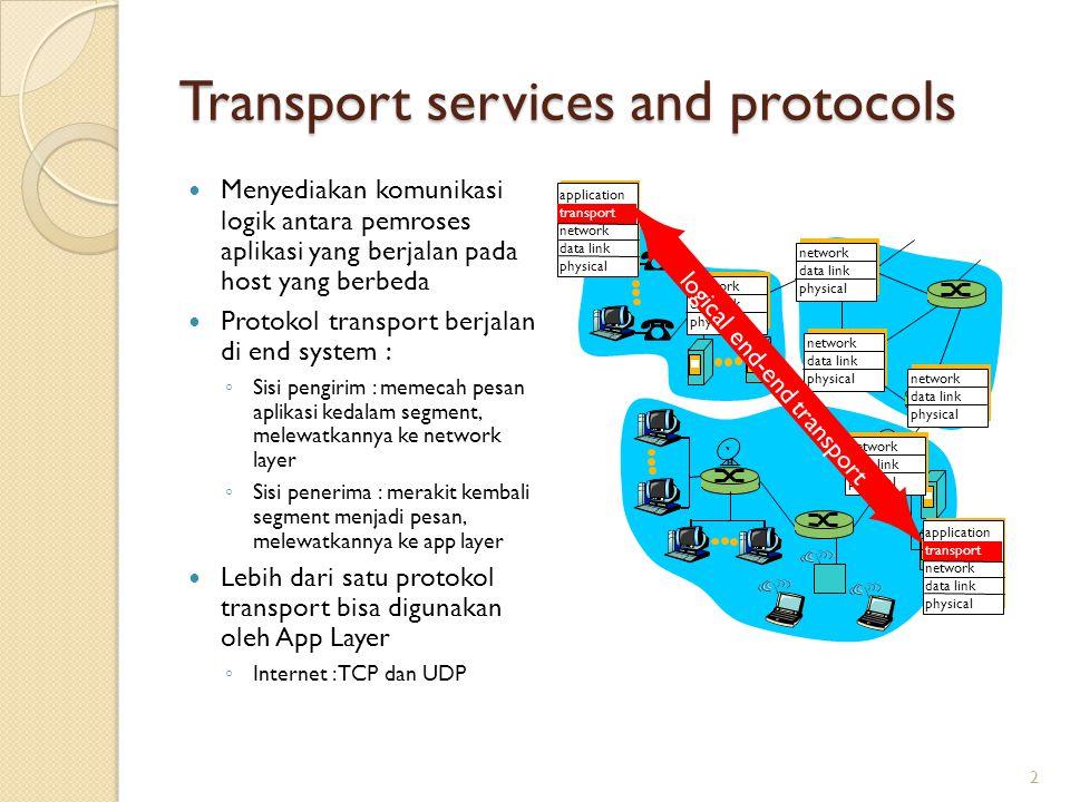 Transport services and protocols Menyediakan komunikasi logik antara pemroses aplikasi yang berjalan pada host yang berbeda Protokol transport berjala