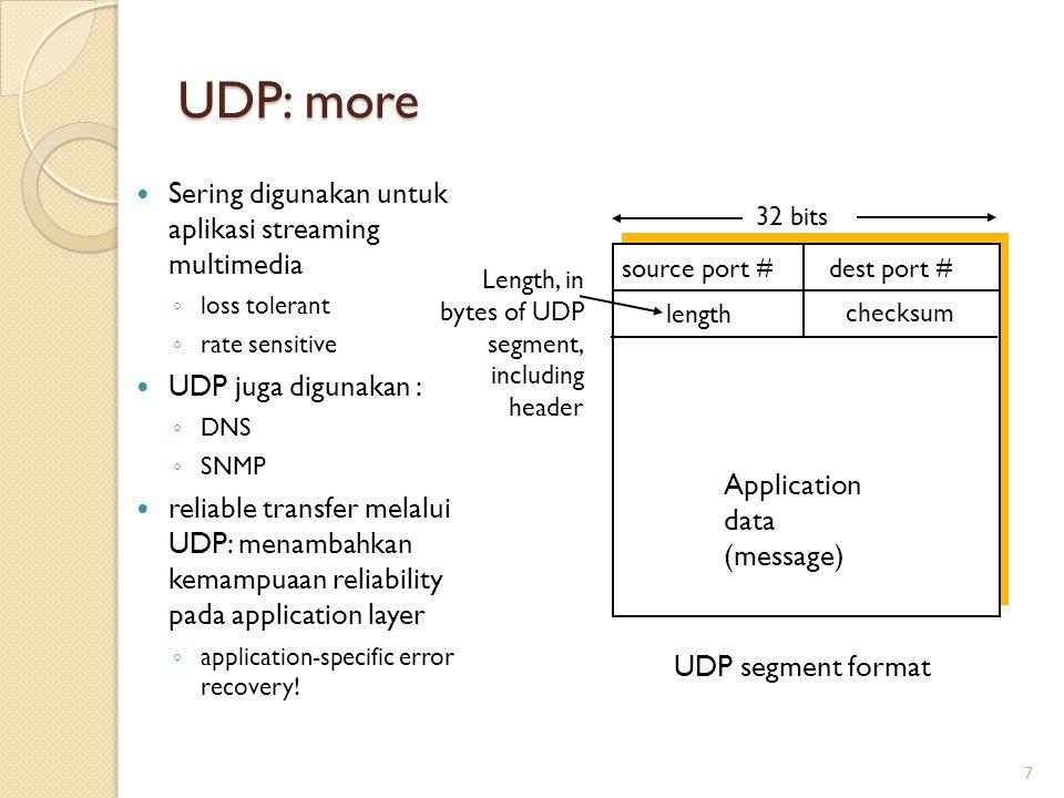 UDP: more Sering digunakan untuk aplikasi streaming multimedia ◦ loss tolerant ◦ rate sensitive UDP juga digunakan : ◦ DNS ◦ SNMP reliable transfer me