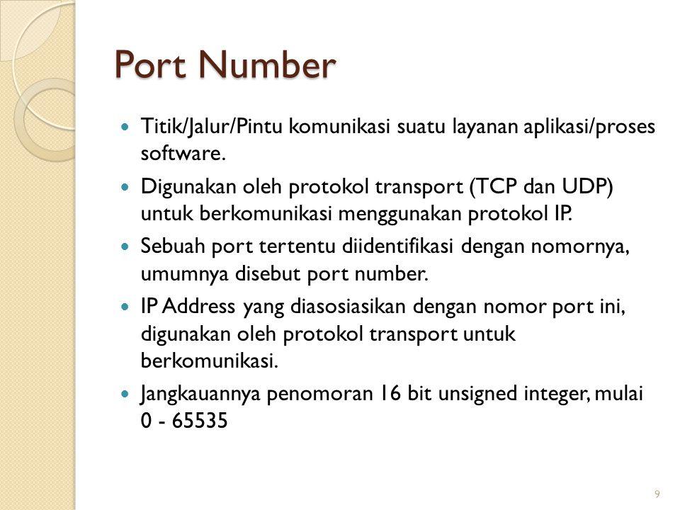 Port Number Titik/Jalur/Pintu komunikasi suatu layanan aplikasi/proses software. Digunakan oleh protokol transport (TCP dan UDP) untuk berkomunikasi m