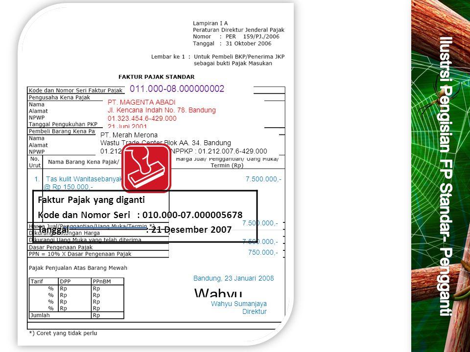 011.000-08.000000002 PT. MAGENTA ABADI Jl. Kencana Indah No. 78. Bandung 01.323.454.6-429.000 21 Juni 2001 PT. Merah Merona Wastu Trade Center Blok AA