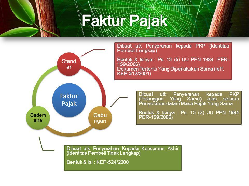 Faktur Pajak Stand ar Gabu ngan Sederh ana Dibuat utk Penyerahan kepada PKP (Identitas Pembeli Lengkap) Bentuk & Isinya : Ps. 13 (5) UU PPN 1984 PER-