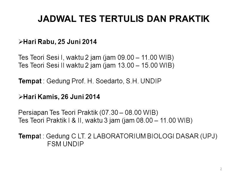 2  Hari Rabu, 25 Juni 2014 Tes Teori Sesi I, waktu 2 jam (jam 09.00 – 11.00 WIB) Tes Teori Sesi II waktu 2 jam (jam 13.00 – 15.00 WIB) Tempat : Gedung Prof.