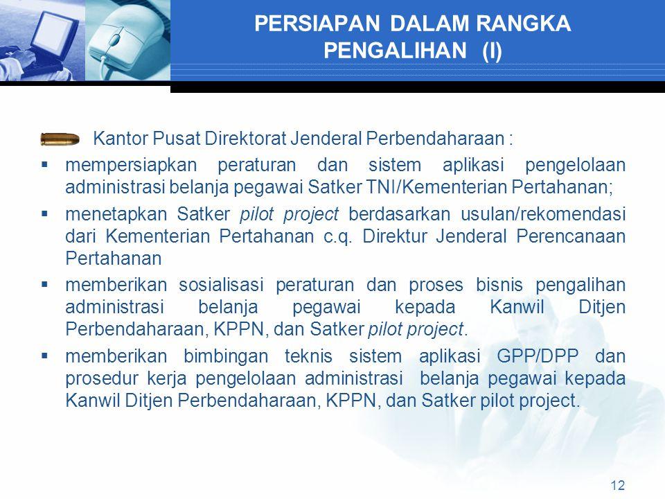 PERSIAPAN DALAM RANGKA PENGALIHAN (I) Kantor Pusat Direktorat Jenderal Perbendaharaan :  mempersiapkan peraturan dan sistem aplikasi pengelolaan admi