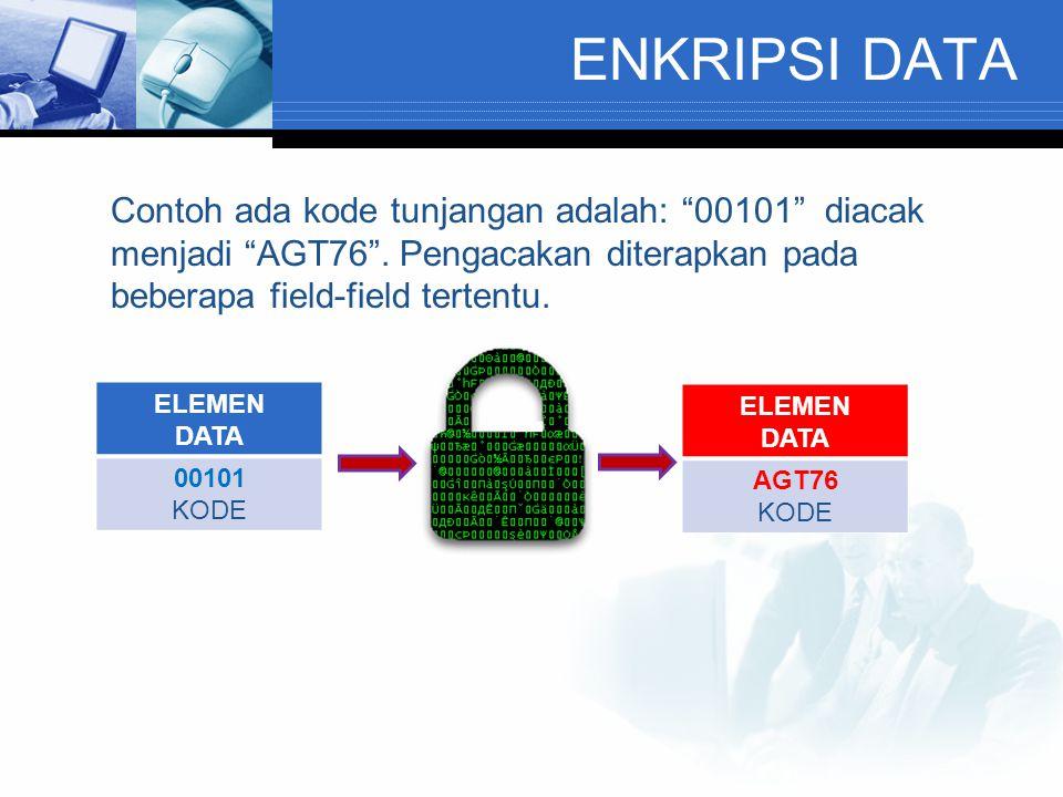 ENKRIPSI DATA Contoh ada kode tunjangan adalah: 00101 diacak menjadi AGT76 .