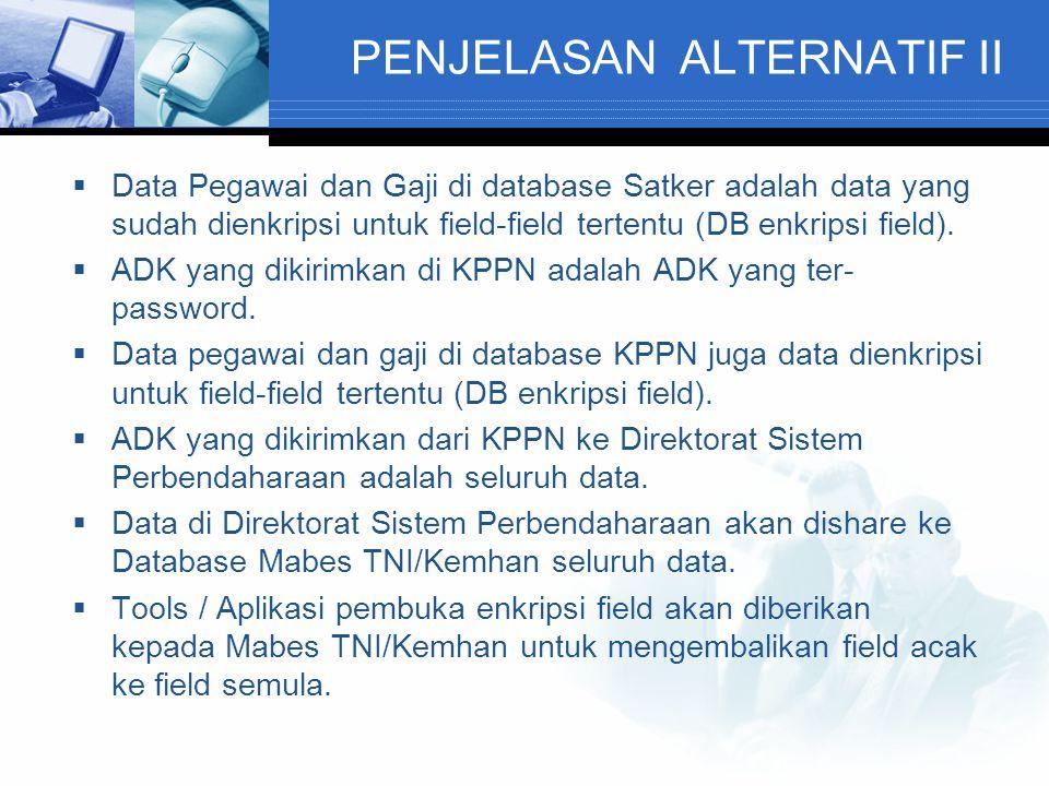 PENJELASAN ALTERNATIF II  Data Pegawai dan Gaji di database Satker adalah data yang sudah dienkripsi untuk field-field tertentu (DB enkripsi field).