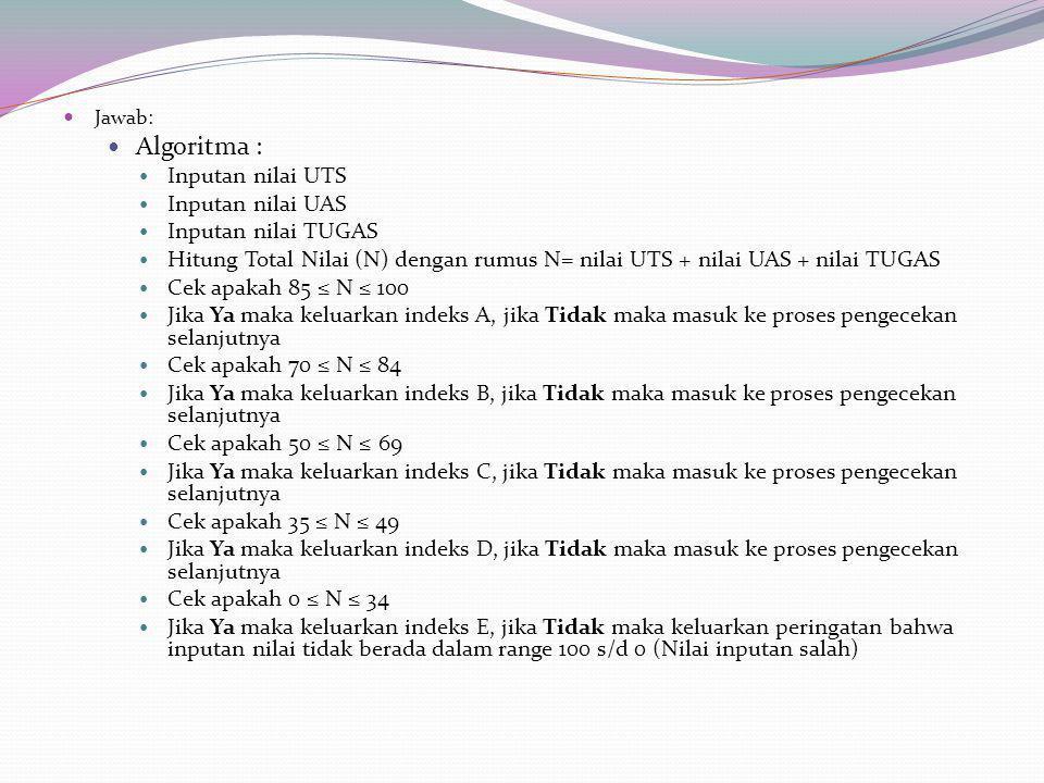 Jawab: Algoritma : Inputan nilai UTS Inputan nilai UAS Inputan nilai TUGAS Hitung Total Nilai (N) dengan rumus N= nilai UTS + nilai UAS + nilai TUGAS