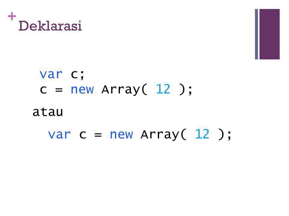 + Deklarasi var c; c = new Array( 12 ); atau var c = new Array( 12 );
