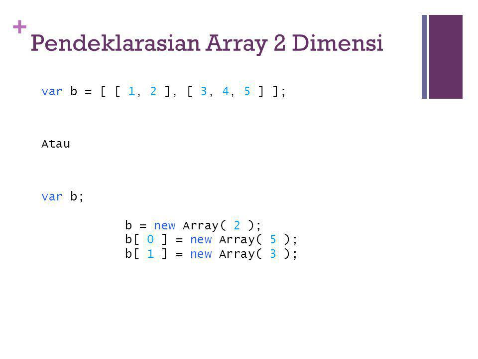 + Pendeklarasian Array 2 Dimensi var b = [ [ 1, 2 ], [ 3, 4, 5 ] ]; Atau var b; b = new Array( 2 ); b[ 0 ] = new Array( 5 ); b[ 1 ] = new Array( 3 );