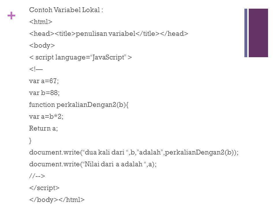 + Contoh Variabel Lokal : penulisan variabel <!— var a=67; var b=88; function perkalianDengan2(b){ var a=b*2; Return a; } document.write( dua kali dari ,b, adalah ,perkalianDengan2(b)); document.write( Nilai dari a adalah ,a); //-->