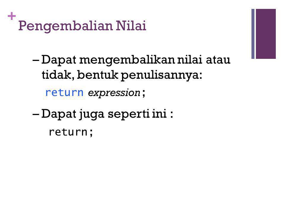 + Pengembalian Nilai –Dapat mengembalikan nilai atau tidak, bentuk penulisannya: return expression ; –Dapat juga seperti ini : return;