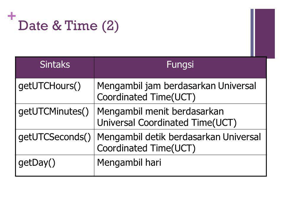 + Date & Time (2) SintaksFungsi getUTCHours()Mengambil jam berdasarkan Universal Coordinated Time(UCT) getUTCMinutes()Mengambil menit berdasarkan Universal Coordinated Time(UCT) getUTCSeconds()Mengambil detik berdasarkan Universal Coordinated Time(UCT) getDay()Mengambil hari