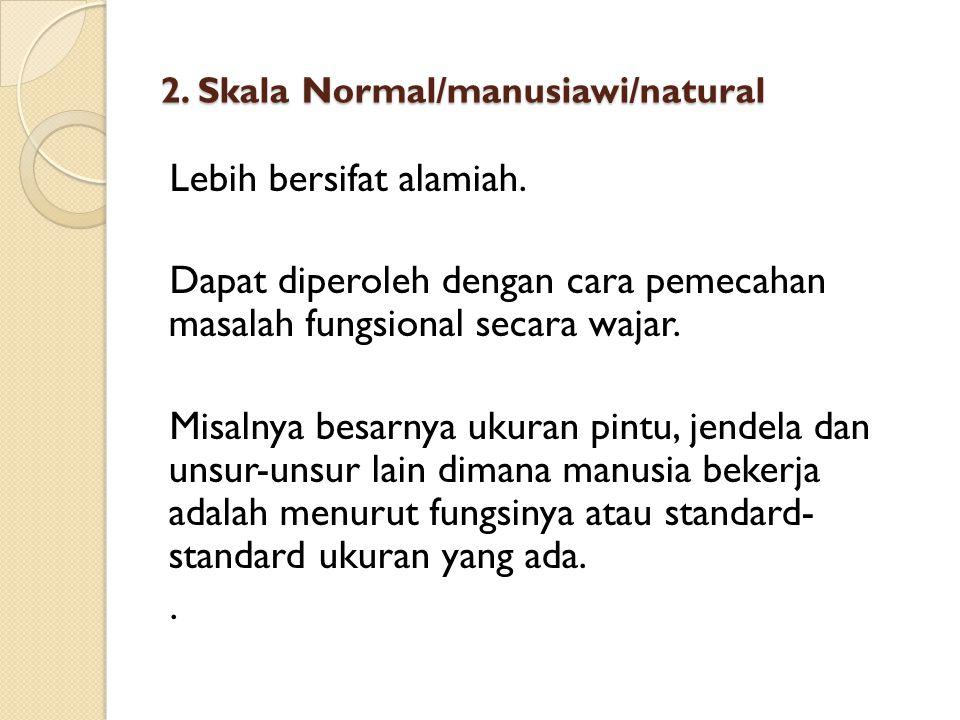 2. Skala Normal/manusiawi/natural Lebih bersifat alamiah. Dapat diperoleh dengan cara pemecahan masalah fungsional secara wajar. Misalnya besarnya uku