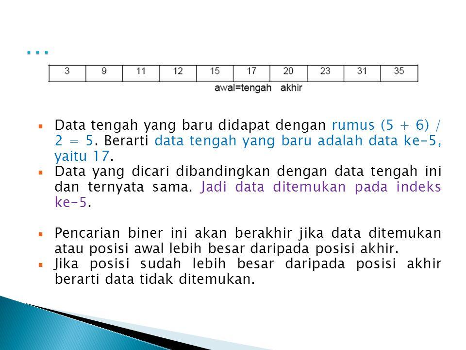  Data tengah yang baru didapat dengan rumus (5 + 6) / 2 = 5. Berarti data tengah yang baru adalah data ke-5, yaitu 17.  Data yang dicari dibandingka