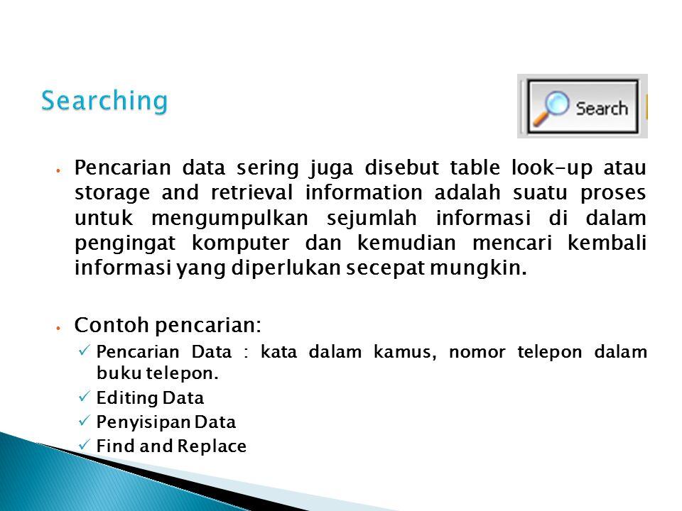 Pencarian data sering juga disebut table look-up atau storage and retrieval information adalah suatu proses untuk mengumpulkan sejumlah informasi di d
