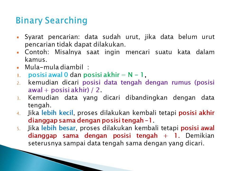  Syarat pencarian: data sudah urut, jika data belum urut pencarian tidak dapat dilakukan.  Contoh: Misalnya saat ingin mencari suatu kata dalam kamu
