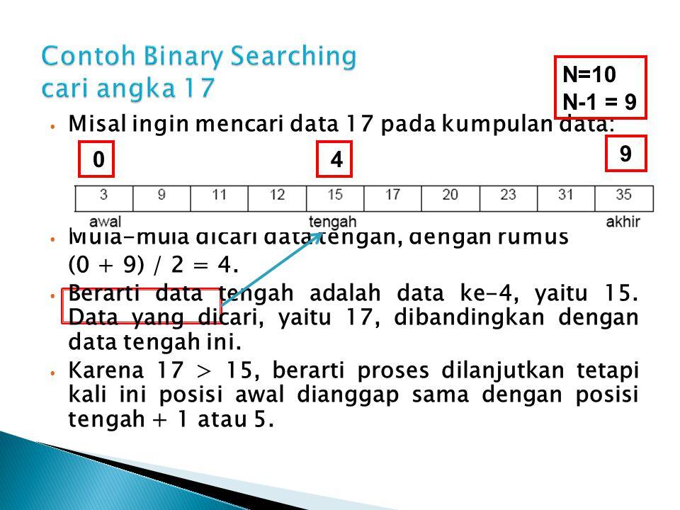Misal ingin mencari data 17 pada kumpulan data: Mula-mula dicari data tengah, dengan rumus (0 + 9) / 2 = 4. Berarti data tengah adalah data ke-4, yait