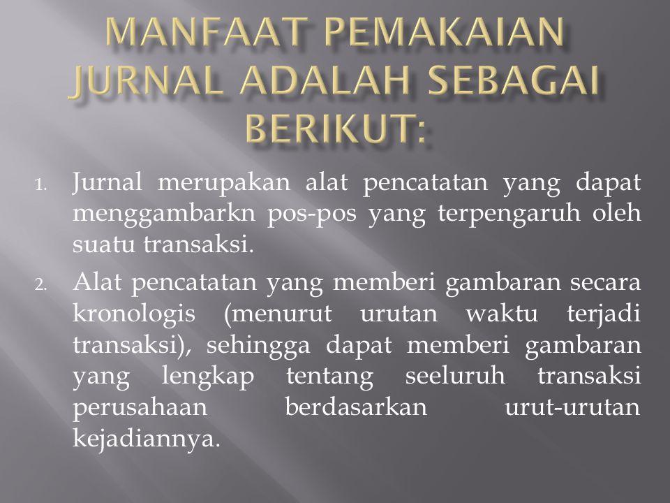 1. Jurnal merupakan alat pencatatan yang dapat menggambarkn pos-pos yang terpengaruh oleh suatu transaksi. 2. Alat pencatatan yang memberi gambaran se