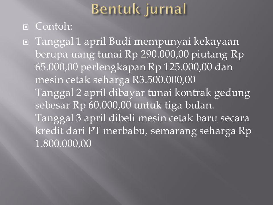  Contoh:  Tanggal 1 april Budi mempunyai kekayaan berupa uang tunai Rp 290.000,00 piutang Rp 65.000,00 perlengkapan Rp 125.000,00 dan mesin cetak se