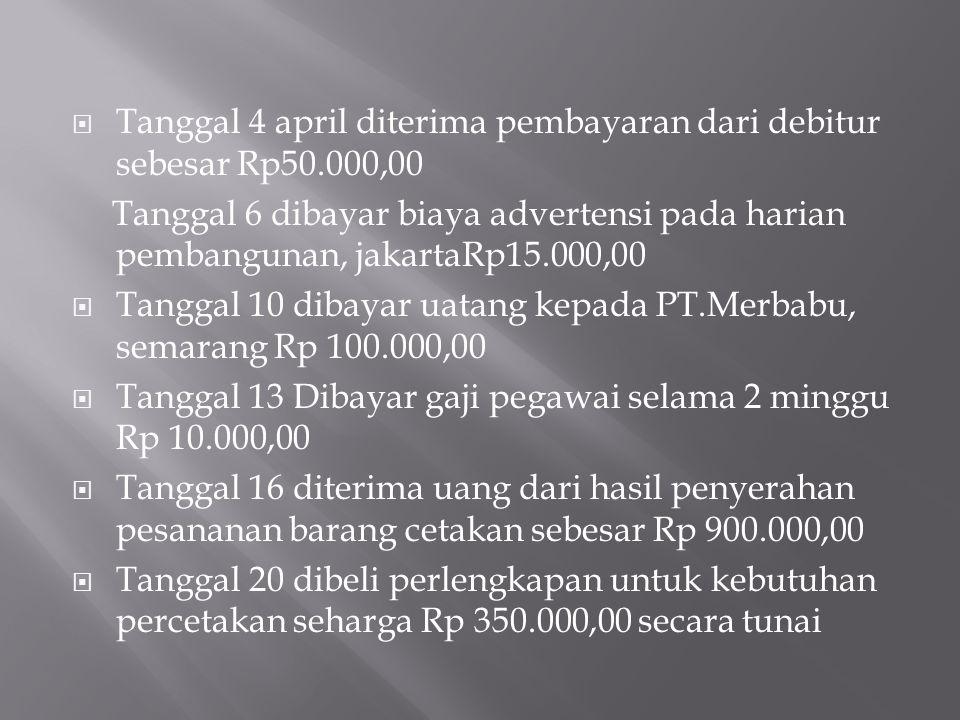  Tanggal 4 april diterima pembayaran dari debitur sebesar Rp50.000,00 Tanggal 6 dibayar biaya advertensi pada harian pembangunan, jakartaRp15.000,00