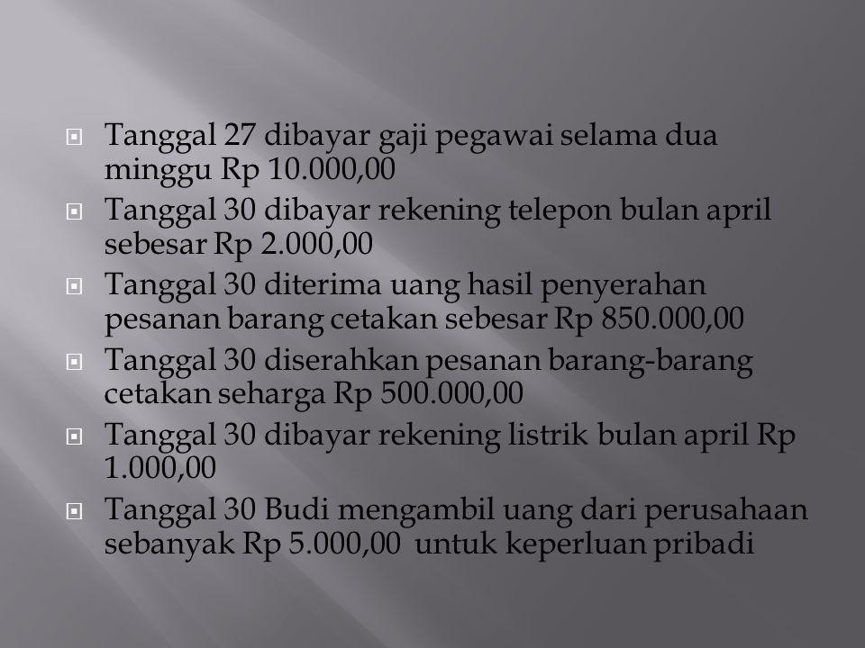  Tanggal 27 dibayar gaji pegawai selama dua minggu Rp 10.000,00  Tanggal 30 dibayar rekening telepon bulan april sebesar Rp 2.000,00  Tanggal 30 di