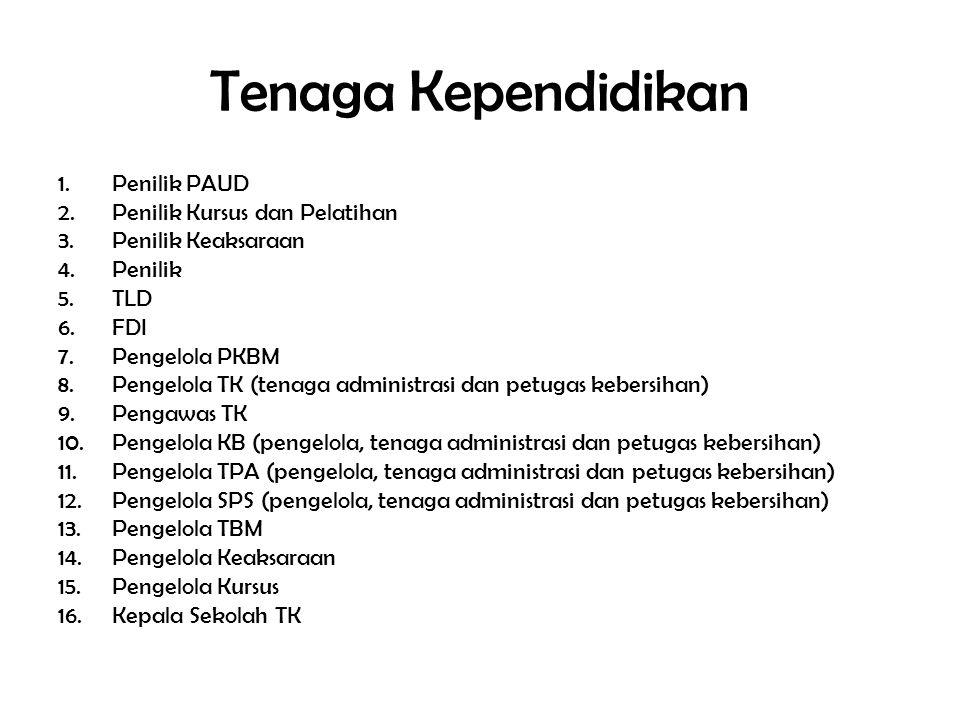 Tenaga Kependidikan 1.Penilik PAUD 2.Penilik Kursus dan Pelatihan 3.Penilik Keaksaraan 4.Penilik 5.TLD 6.FDI 7.Pengelola PKBM 8.Pengelola TK (tenaga administrasi dan petugas kebersihan) 9.Pengawas TK 10.Pengelola KB (pengelola, tenaga administrasi dan petugas kebersihan) 11.Pengelola TPA (pengelola, tenaga administrasi dan petugas kebersihan) 12.Pengelola SPS (pengelola, tenaga administrasi dan petugas kebersihan) 13.Pengelola TBM 14.Pengelola Keaksaraan 15.Pengelola Kursus 16.Kepala Sekolah TK