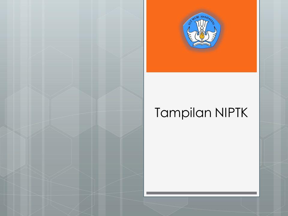 Tampilan NIPTK