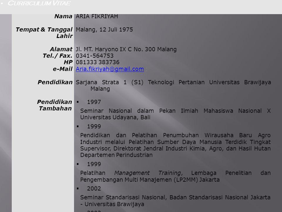 NamaARIA FIKRIYAH Tempat & Tanggal Lahir Malang, 12 Juli 1975 Alamat Tel./ Fax. HP e-Mail Jl. MT. Haryono IX C No. 300 Malang 0341-564753 081333 38373