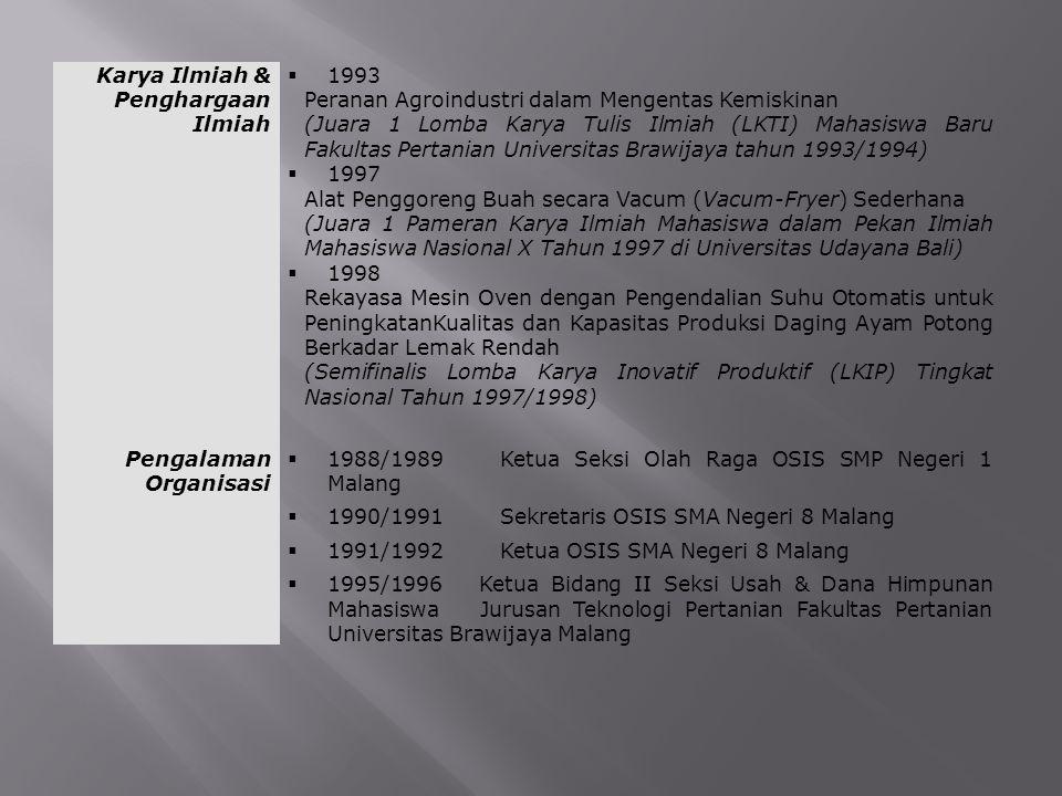 Karya Ilmiah & Penghargaan Ilmiah  1993 Peranan Agroindustri dalam Mengentas Kemiskinan (Juara 1 Lomba Karya Tulis Ilmiah (LKTI) Mahasiswa Baru Fakul