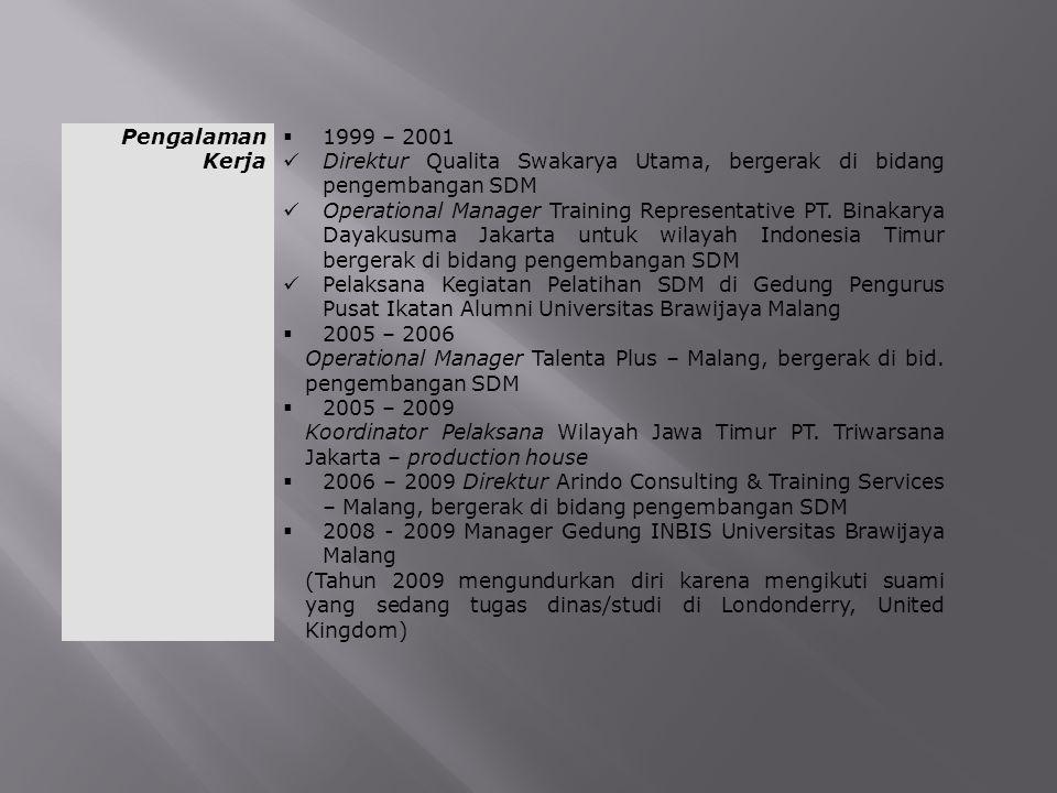 Pengalaman Kerja  1999 – 2001 Direktur Qualita Swakarya Utama, bergerak di bidang pengembangan SDM Operational Manager Training Representative PT. Bi