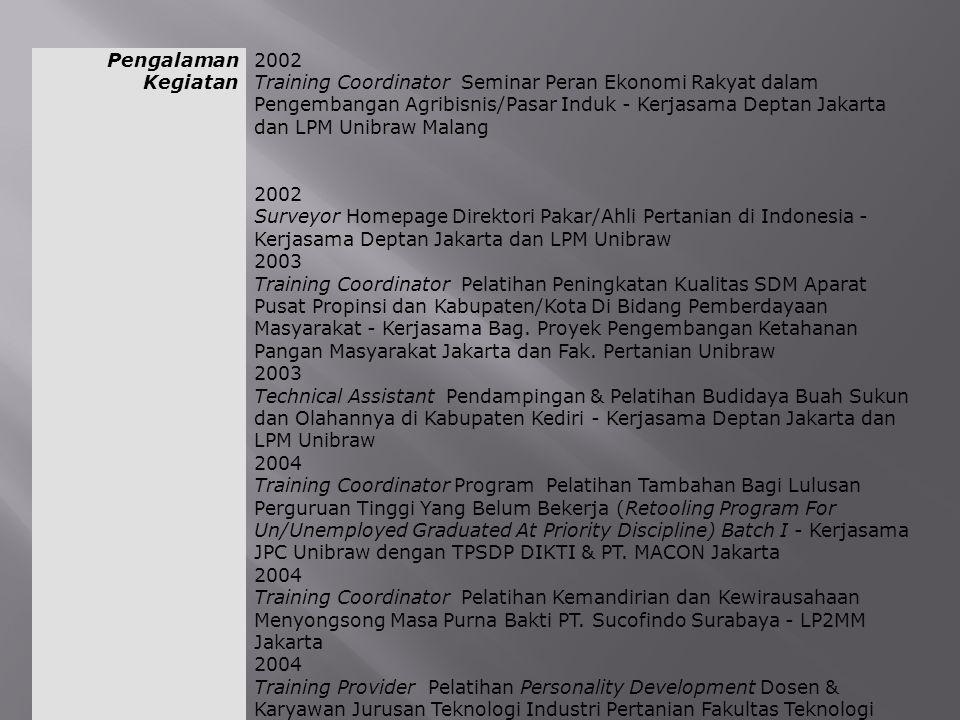 Pengalaman Kegiatan 2002 Training Coordinator Seminar Peran Ekonomi Rakyat dalam Pengembangan Agribisnis/Pasar Induk - Kerjasama Deptan Jakarta dan LP