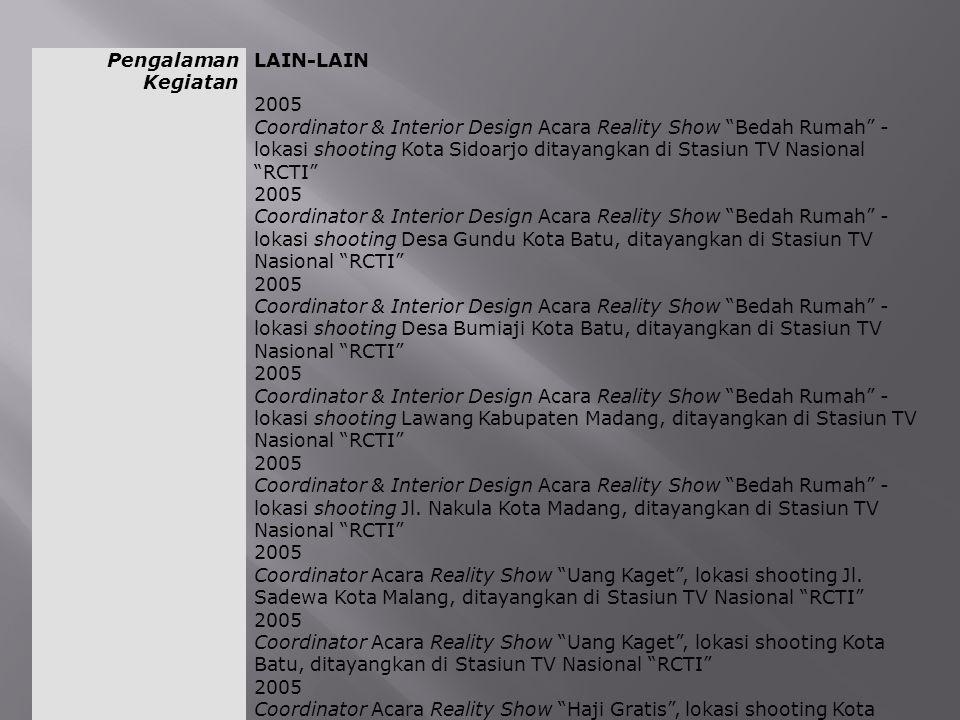 """Pengalaman Kegiatan LAIN-LAIN 2005 Coordinator & Interior Design Acara Reality Show """"Bedah Rumah"""" - lokasi shooting Kota Sidoarjo ditayangkan di Stasi"""
