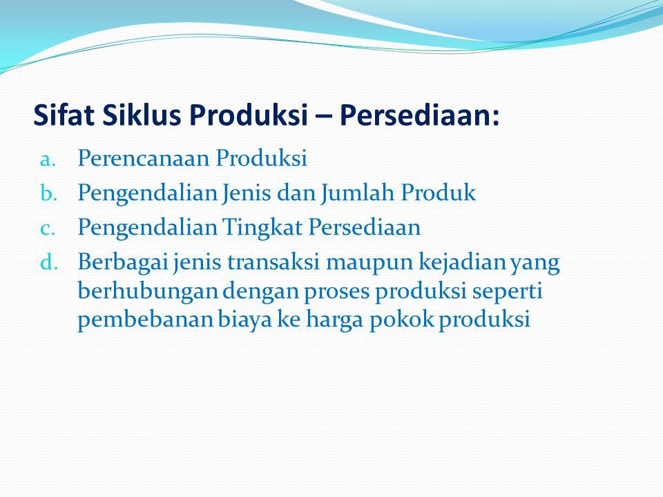 Sifat Siklus Produksi – Persediaan: a. Perencanaan Produksi b. Pengendalian Jenis dan Jumlah Produk c. Pengendalian Tingkat Persediaan d. Berbagai jen