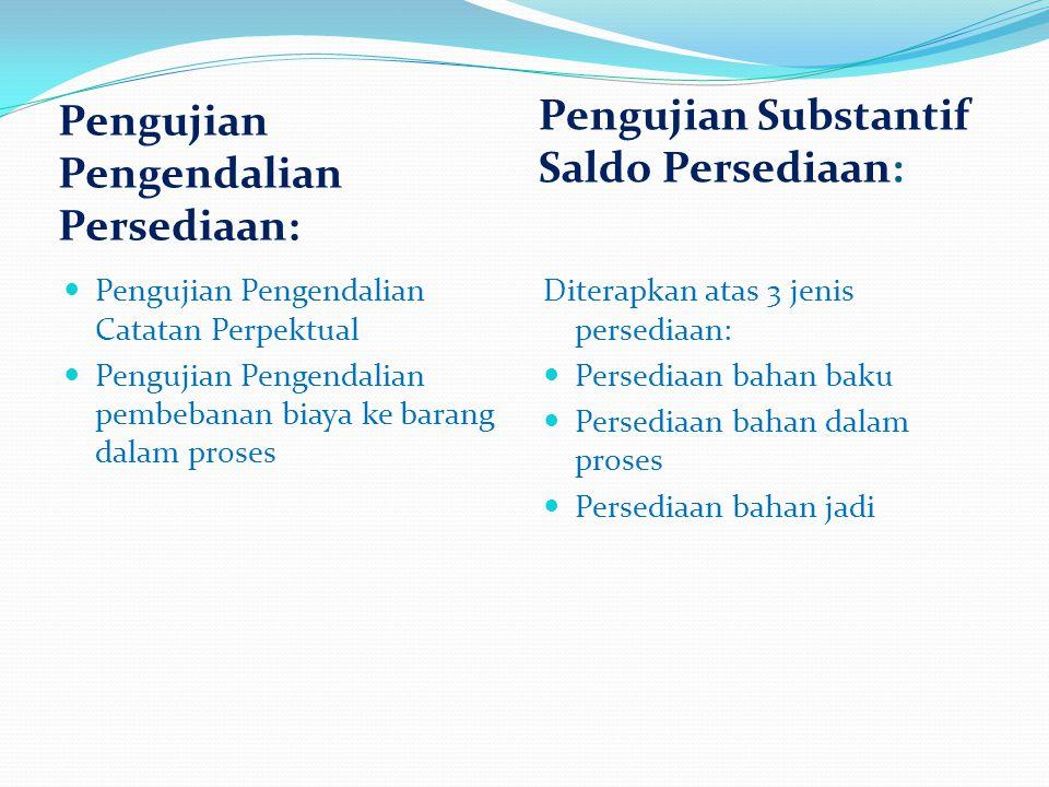 Pengujian Pengendalian Persediaan: Pengujian Substantif Saldo Persediaan: Pengujian Pengendalian Catatan Perpektual Pengujian Pengendalian pembebanan