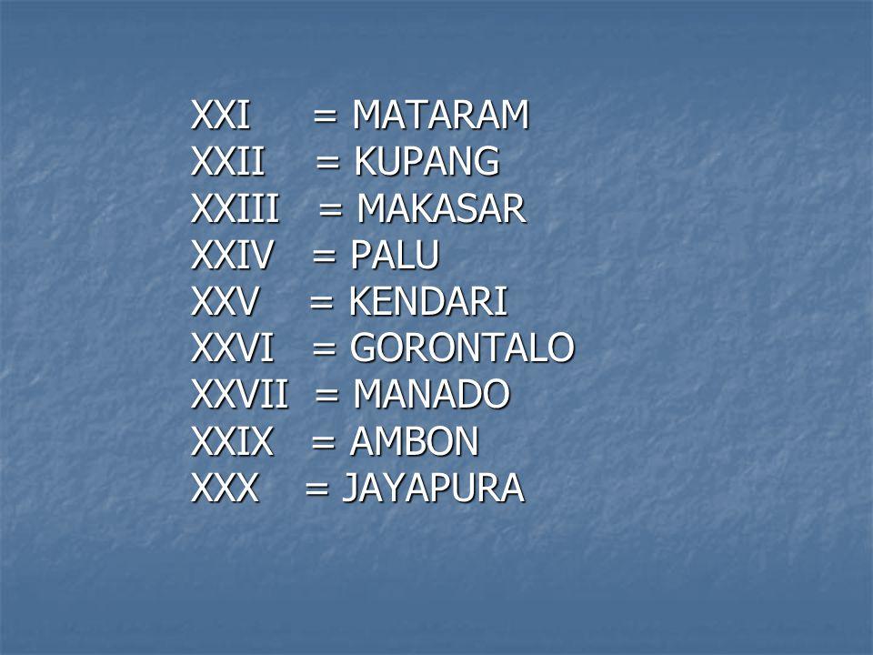 XI = JAKARTA XII = BANDUNG XIII = SEMARANG XIV = YOGYAKARTA XV = SURABAYA XVI = PONTIANAK XVII = PALANGKARAYA XVIII = BANJARMASIN XIX = SAMARINDA XX= DENPASAR